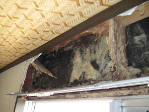 窓枠の上にシロアリ被害