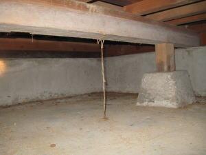 床下がコンクリート土間にできた空中蟻道(ストロー状でシロアリが行き来します)